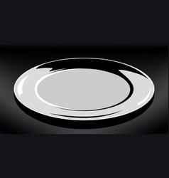 Empty white plate round plate on vector