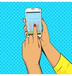 Female hand with phone pop art vector