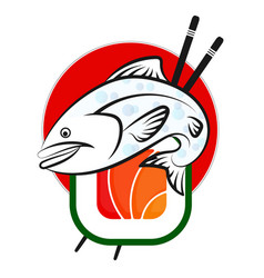 Fish and sushi vector