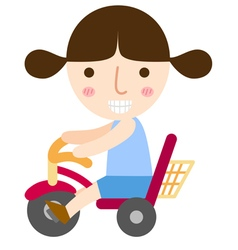Girl ride bike vector