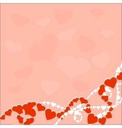 Greeting card with love hearts on pink background vector image vector image