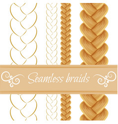 Hair braided isolated on white seamless three vector