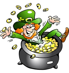 Hand-drawn of an Happy Leprechaun vector image vector image