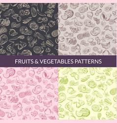 handsketched fruits and vegetables vegan vector image