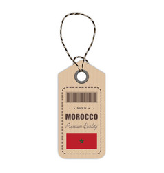 hang tag made in morocco with flag icon isolated vector image