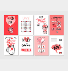 happy valentines day set of valentines romantic vector image