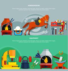 Horseshoeing blacksmith banners set vector