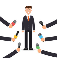 Interview or press conference a businessman vector