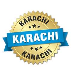 Karachi round golden badge with blue ribbon vector