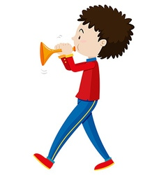 Little boy playing trumpet vector image vector image
