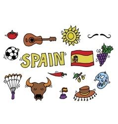 Love Spain doodles symbols of Spain vector image