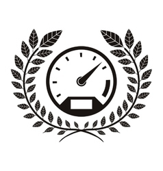 monochrome speedometer award between olive branch vector image