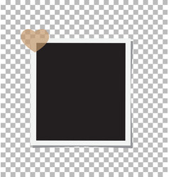 photo frame and a heart with shadow on the vector image vector image
