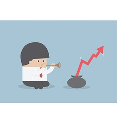 Printbusinessman playing pipe to mbusinessman pla vector