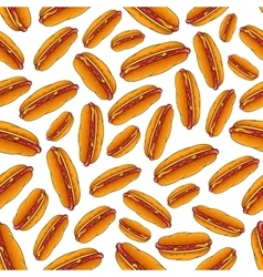 Seamless hot dog sandwiches with sauces pattern vector