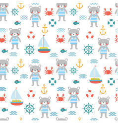 seamless pattern with cute little bear sailor vector image