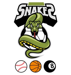 Snake grip a sport ball vector