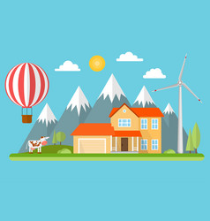 suburban american house in the mountains vector image vector image