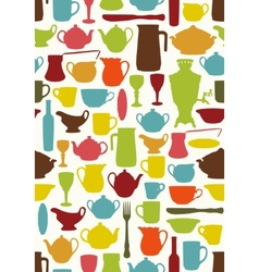 Tableware seamless vector image vector image