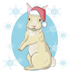 The christmas poster with the image rabbit vector