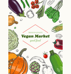 vertical background with different vegetables vector image