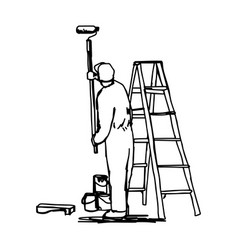 Workman painting the wall with a roller vector