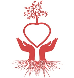 Hand holds heart tree vector