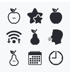 Fruits with leaf icons apple and pear vector