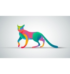 Gradient animal logo design color cat silhouette vector