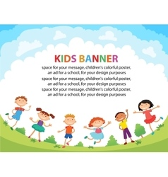 Children are jumping on the glade bunner cartoon vector