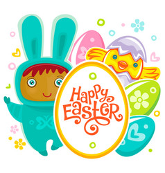 Easter card with egg hunting rabbit child vector
