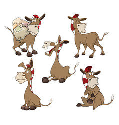 Set cartoon cute donkeys vector