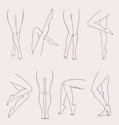 set of various female legs hand drawn outline vector image