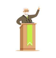 mature politician standing behind rostrum and vector image