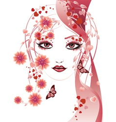 Red floral girl vector