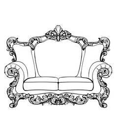 Classic imperial baroque sofa with luxurious vector