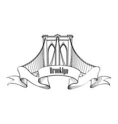 new york city brooklyn bridge travel usa landmark vector image