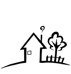 Black and white silhouette of a small house vector