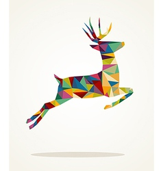 Merry christmas contemporary triangle reindeer vector
