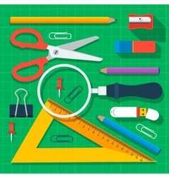 Colorful school supplies flat design vector