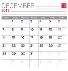 2015 December calendar page vector image vector image