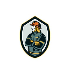 Fireman firefighter arms folded shield retro vector