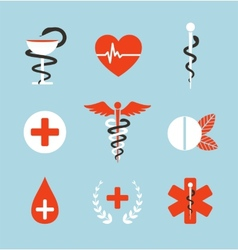 Medical symbols emblems and signs collection vector