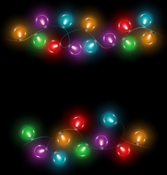 Led christmas lights on black vector