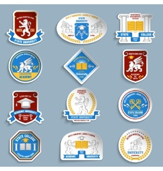 University badges pictograms set vector