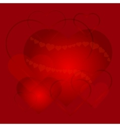Greeting card with love hearts on red background vector