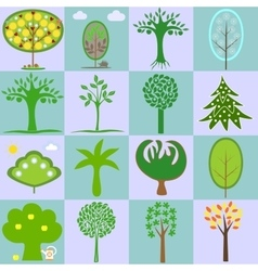 Icons with different types of trees vector