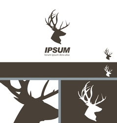 Deer Stag Head silhouette quality label branding vector image
