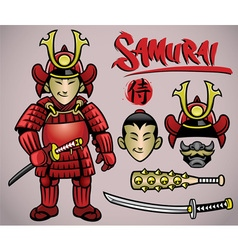 Cartoon samurai with the complete gears vector