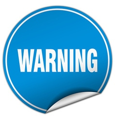 Warning round blue sticker isolated on white vector